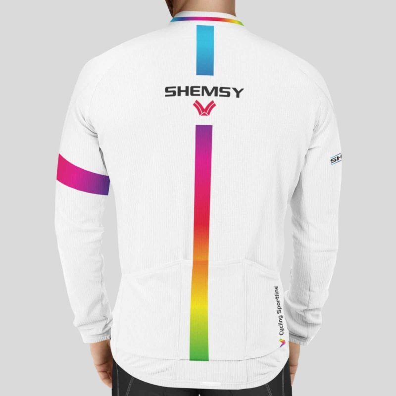 Maillot cycliste blanc manches longues