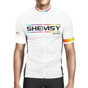 Maillot cycliste manches courtes shemsy sportline blanc