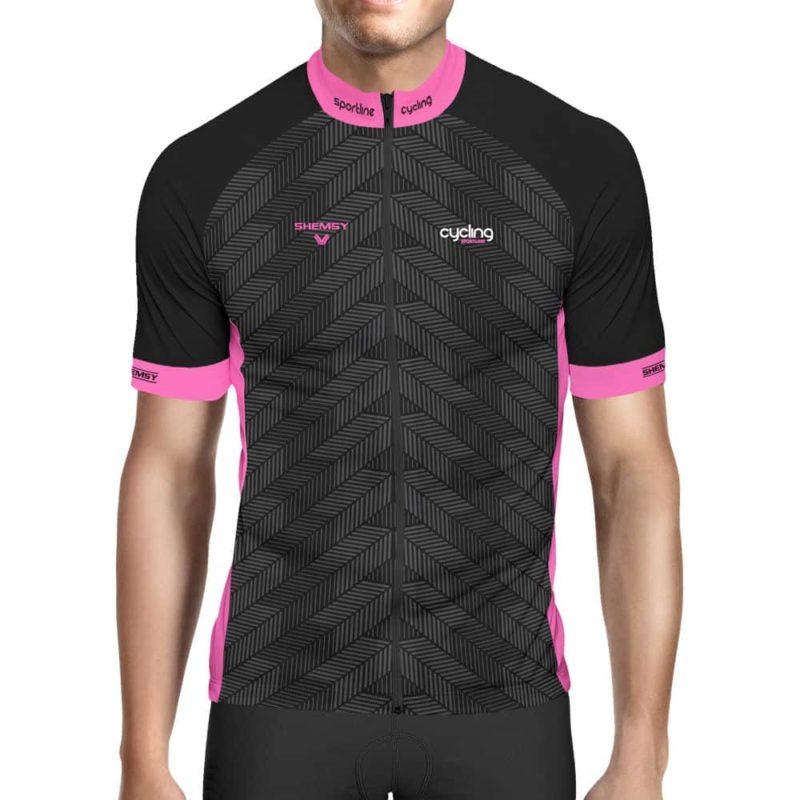 maillot cycliste noir et rose Fluo