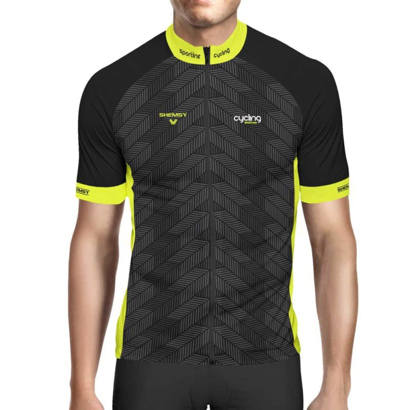 Maillot cycliste noir et jaune fluo Kite