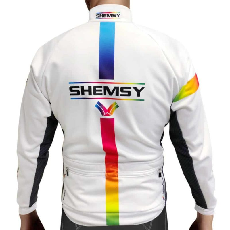 Veste cycliste thermique blanche de dos